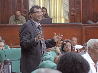 AFC leader Khemraj Ramjattan making a point yesterday during his contribution to this year's budget debate.