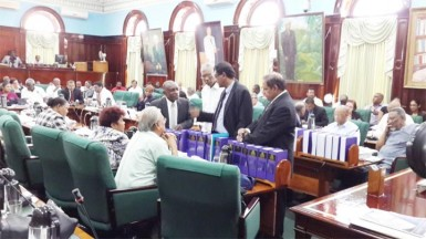Opposition MPs holding a pow-wow before the beginning of the consideration of estimates