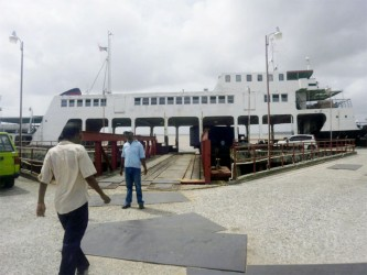 Pressed into service: The MV Malali after it arrived from Parika yesterday.