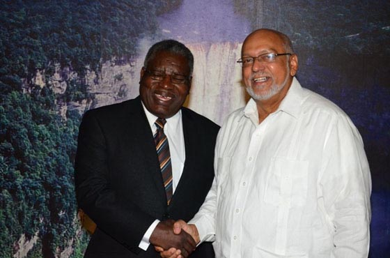 New non-resident Barbados High Commissioner accredited:  High Commissioner Robert Morris shares a moment with President Donald Ramotar yesterday after presenting his Letters of Credence at the Office of the President. (GINA photo)