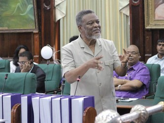 Prime minister Samuel Hinds during the debate on Tuesday.