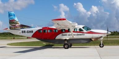 A Trans Guyana aircraft at the Ogle Internationl Airport
