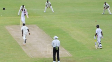 Darren Bravo punches a delivery confidentially off the back-foot during his innings of 61