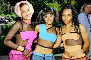 From left: Tionne 'T-Boz' Watkins, Lisa 'Left Eye' Lopes and Rozonda 'Chilli' Thomas of TLC at the 1999 Kid's Choice Awards '
