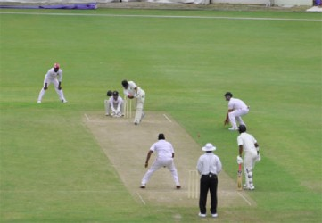 Chris Barnwell goes through mid-wicket during his 50. (Clifton Ross photo)