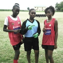 East Ruimveldt scorers from left to right Deborah Waldron, Decaycia Norville and Troyann Barton