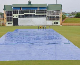 RAIN NO PLAY!  Rain robbed Guyana and Trinidad and Tobago of an outright result in their final WICB four day encounter at the Providence National Stadium yesterday. (Clifton Ross photo)