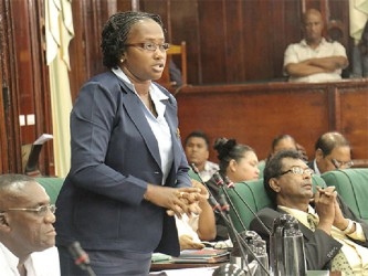 APNU MP Annette Ferguson makes a point during the consideration of estimates for Regions 6 through 10 in the National Assembly yesterday.