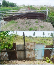 Photos above show the makeshift zinc fence that has been used to block the dam.