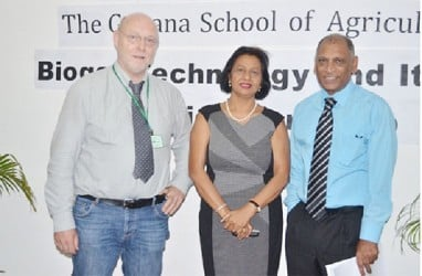 Dr. Leslie Ramsammy, Minister of Agriculture   (right) with Professor Jens Born of Flensburg University of Applied Science of Germany (left) and Dr. Indra Haraksingh, Workshop Coordinator from the Department of Physics, The University of the West Indies. (GINA photo)