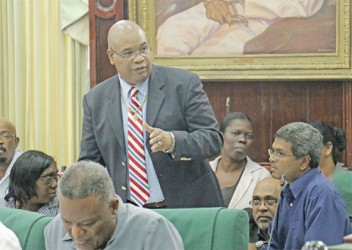 Minister in the Ministry of Finance Juan Edghill speaking yesterday.
