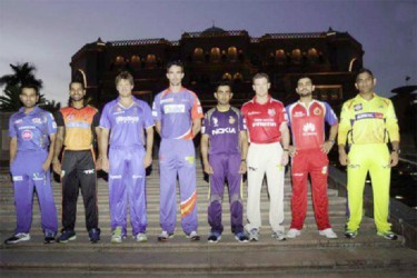 The eight IPL captains at yesterday's opening ceremony in Abu Dhabi. (photo courtesy of IPLT20.com)