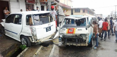 Composite photo showing the car shortly after the collision and the damaged mini bus.