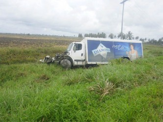 The badly damaged DDL truck in the trench