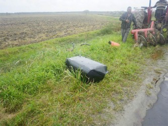 The fuel tank from the Banks DIH truck at the side of the road
