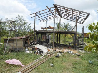 What was left of Errol Lindo's two-bedroom home after the dismantling on Wednesday.