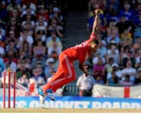 Seamer Chris Jordan ... in action for England at Kensington Oval last month .