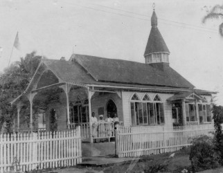 The old Alexander Village Hindu Temple which Pandit Ramsaroop Maraj (who can barely be seen in the photo) co-founded in the 1930s