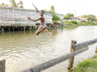 About to make a splash! Youngster diving into a trench at Mon Repos, East Coast Demerara (Photo by Arian Browne)