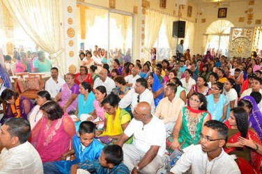 A section of those gathered at the commissioning of the Sri Krishna Mandir  (GINA photo)