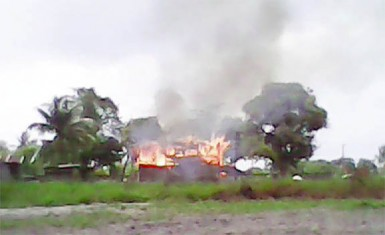 The burning apartment building in Kuru Kururu yesterday morning