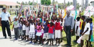 The children displaying their kites at No 22 Bel Air.