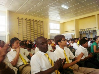 A section of the audience at yesterday's opening of the National Science Mathematics and Technology Fair at the Anna Regina Secondary School, Essequibo Coast.