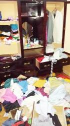 A ransacked bedroom
