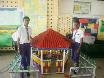 President's College's 'Plastique Fantaisie' on display at this year's  National Science Mathematics and Technology Fair which opened yesterday at the Anna Regina Secondary School, Essequibo Coast.