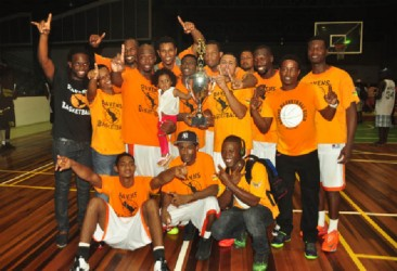 "The Ravens team after winning the Road to Mecca club championships earlier this year. Akeem 'The Dream"" Kanhai (seen dunking above)  could prove to be a nightmare for the Alkl Star team."