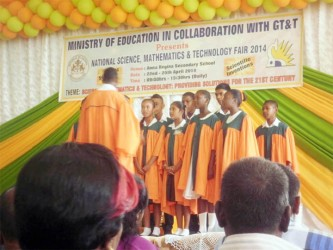 The Regional Schools Choir performing at the opening of the science fair yesterday.