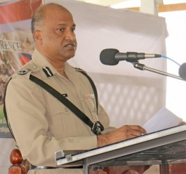 Acting Commissioner of Police Seelall Persaud addressing the conference today.