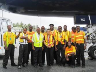 Some of Roraima Airways ground handling staff