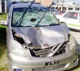 The car which struck down Shafeek Shaw parked in the Parika Police Station compound.