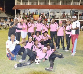 TRUE ANGELS! The victorious Trophy Stall Angels team and supporters which defeated Mike's Wellwoman to win the female competition of the GFSCA three category tournament which ended on Saturday night at the DCC ground, Queenstown.