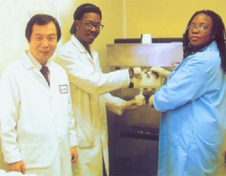 Left to right: Dr Young Park, Professor of Food Science; Christopher McGhee, MS student in Food Technology and Jolethia Jones, Research Technician