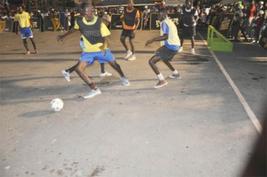 Action as the Guinness Greatest of the Streets football tournament got underway in Linden Tuesday.