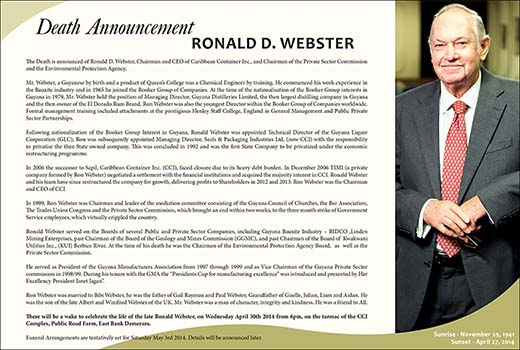 Death Announcement - Ronald Webster