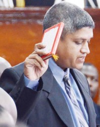 Jaipaul Sharma uring his swearing in as a member of Parliament