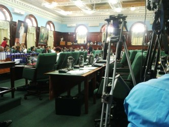 The empty chairs after the opposition members walked out today.