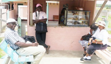 Members of the Jehovah's Witnesses taking a break from preaching in the area