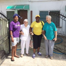 Sister Judith Schmelz (right) with GWMO President Simona Broomes (second, right) and two other Sisters of Mercy at last Sunday's clean up exercise.