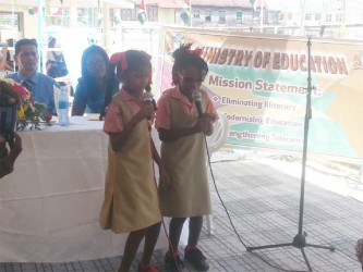 Two students from the unit singing the calypso 'I Can.'