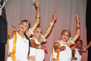 Nadira Shah Berry and the late Indranie Shah Lennartson performing with other dancers during Nrityageet 29. (Stabroek News file photo)