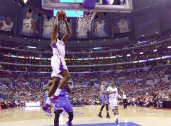 Los Angeles Clippers center DeAndre Jordan (6) dunks the ball against the Oklahoma City Thunder in game four of the second round of the 2014 NBA Playoffs at Staples Center. Kirby Lee-USA TODAY Sports