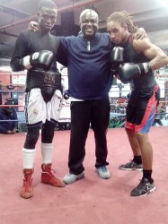 Clive Atwell (left) poses for a photo after his sparring session at the Gleason's Gym recently.