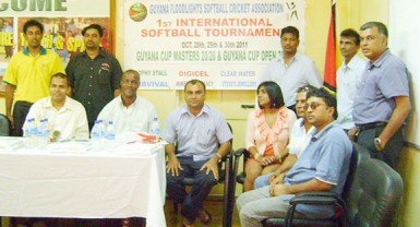 Minister Frank Anthony with members of the Guyana Floodlight Softball Cricket Association at a meeting recently.