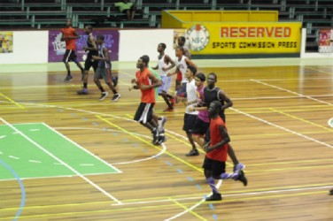 Members of the Georgetown Junior team practising at the Cliff Anderson Sports Hall after gaining entry to the facility