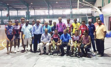 The prize winners for the 32nd annual NSC Independence Three-Stage road race posing with their spoils at the presentation ceremony which was held at the Cliff Anderson Sports Hall (Orlando Charles photo).