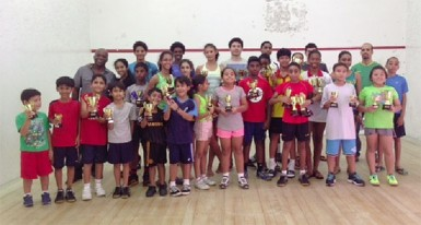 The winners of the Woodpecker Products junior national squash championships.